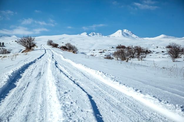 Schneebedeckte straße in der wintersaison Premium Fotos