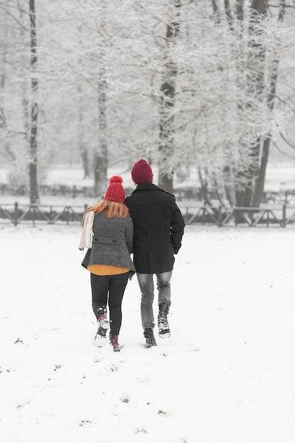 Schneebedeckte wintersaison mit paar von hinten Kostenlose Fotos