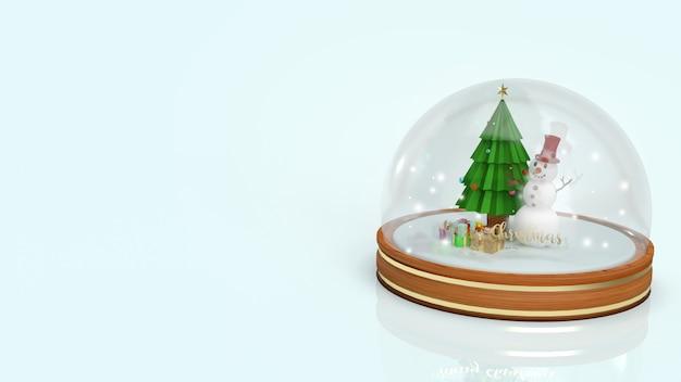 Schneekugel mit schneemann 3d rendering Premium Fotos