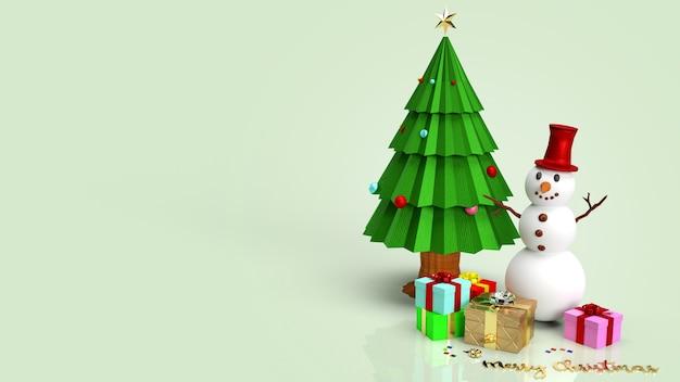 Schneemann und weihnachtsbaum 3d rendering Premium Fotos
