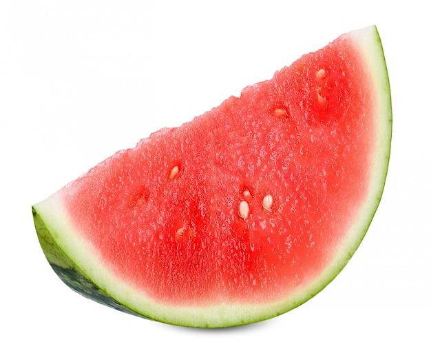 Schneiden sie die wassermelone, die auf weißem clippng pfad lokalisiert wird Premium Fotos