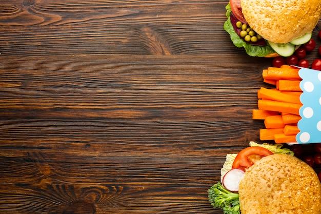 Schnellimbiß des draufsicht strengen vegetariers mit kopienraum Kostenlose Fotos