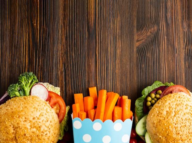 Schnellimbissanordnung des strengen vegetariers mit kopienraum Kostenlose Fotos