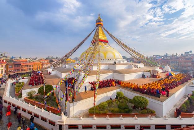 Schön von boudhanath-stupa in der morgenzeit in kathmandu, nepal Premium Fotos