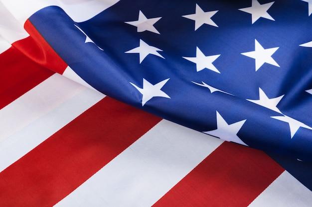 Schön wehender stern und gestreifte amerikanische flagge Premium Fotos