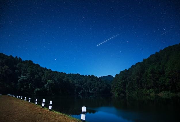 Schöne ansichten der natur nachts mit sternschnuppe in nordthailand-verdammung. Premium Fotos