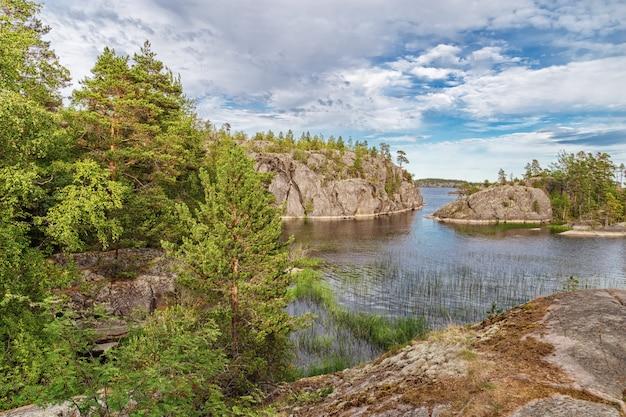 Schöne aussicht auf see und kleine steininseln bedeckt bäume und gras Premium Fotos