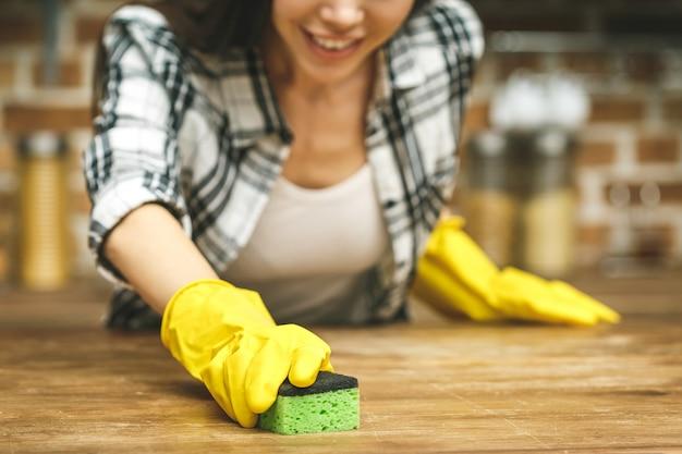 Schöne frau in der küche lächelt und wischt staub mit einem spray und einem staubtuch ab, während sie ihr haus putzt, nahaufnahme Premium Fotos