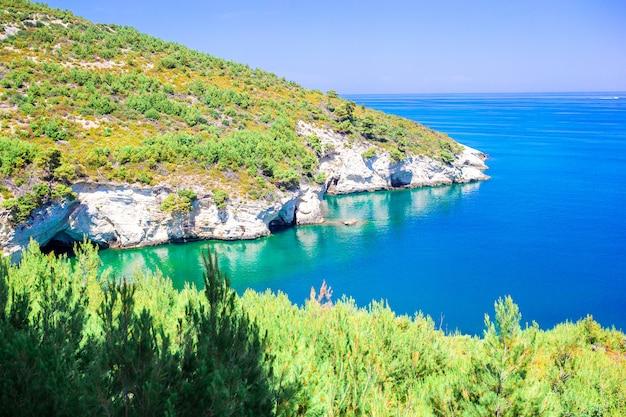 Schöne gemütliche bucht mit booten und klarem türkisfarbenem wasser in italien Premium Fotos