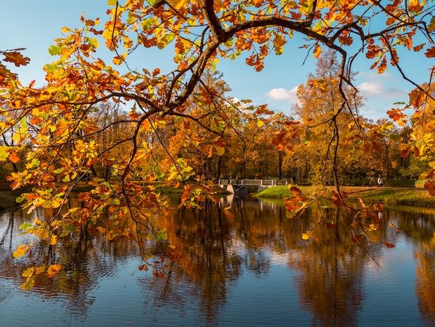 Schöne herbstlandschaft mit einer alten steinbrücke und einem roten ast über dem see Premium Fotos