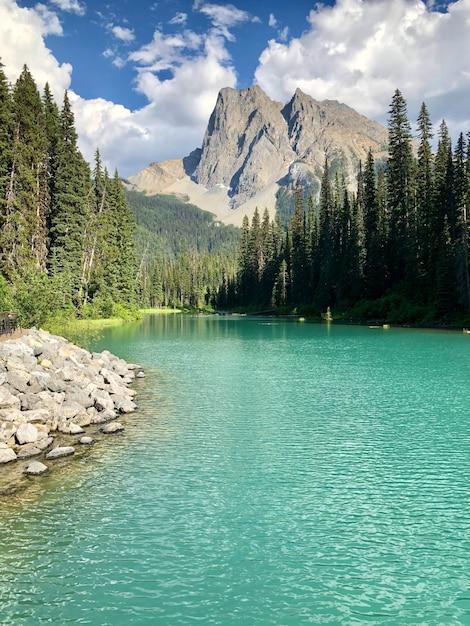 Schöne landschaft des smaragdsees im yoho-nationalpark, britisch-kolumbien, kanada Kostenlose Fotos