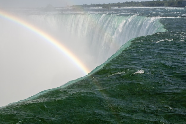 Schöne landschaft eines regenbogens, der sich auf den horseshoe falls in kanada bildet Kostenlose Fotos