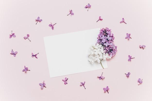 Schöne lila weiße grußkarte der niederlassung und des modells auf rosa hintergrund. Premium Fotos