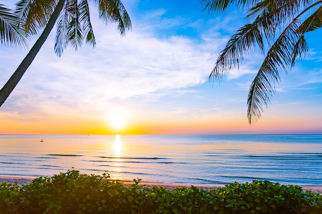 Schöne naturlandschaft im freien von meer und von strand mit kokosnusspalme Kostenlose Fotos