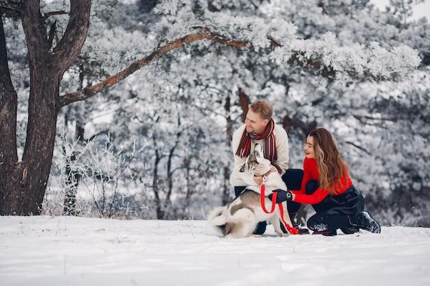 Schöne paare, die mit einem hund spielen Kostenlose Fotos