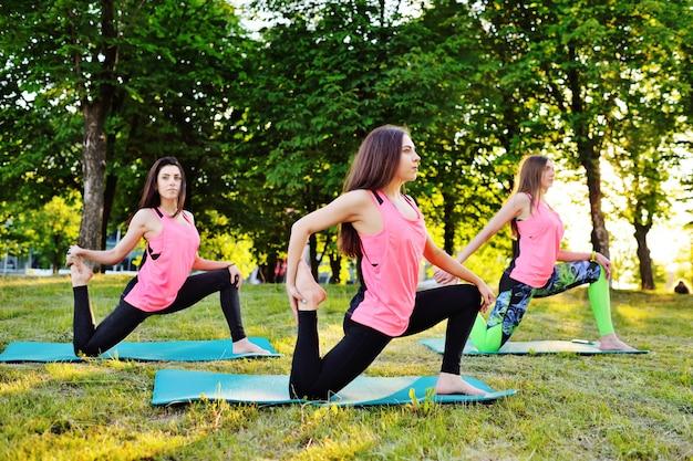Schöne, sportliche mädchen machen yoga oder fitness auf dem grünen rasen Premium Fotos