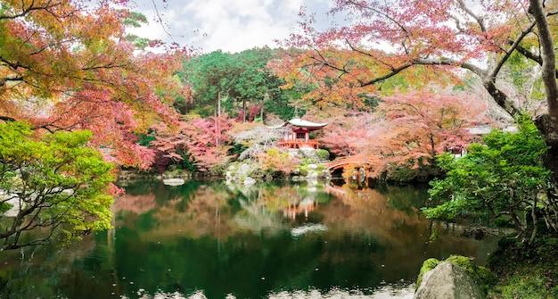 Schöne und multi farben von ahornbäumen an daigoji-tempel mit teich auf hintergrund des blauen himmels der bucht Premium Fotos