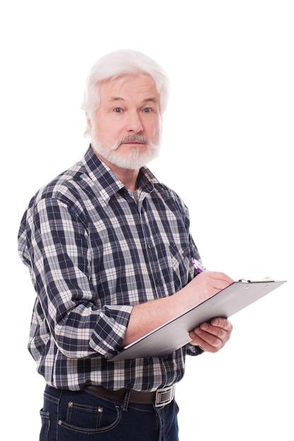 Schöner älterer mann schreiben Kostenlose Fotos