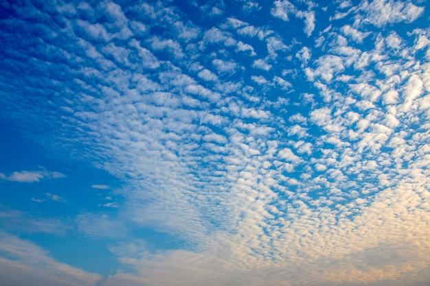 Schöner himmel mit vielen weiße wolke morgens. Premium Fotos