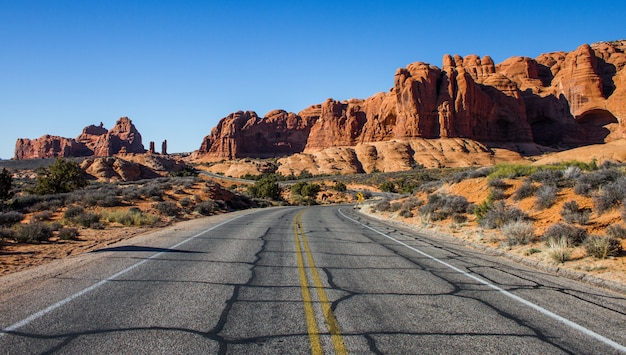 Schöner schuss einer leeren straße mitten in einer wüste mit büschen und klippen in der ferne Kostenlose Fotos