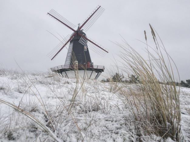 Schöner schuss einer windmühle in der mitte eines winterfeldes Kostenlose Fotos