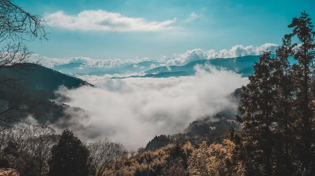Schöner schuss eines bewaldeten berges über den wolken unter einem blauen himmel Kostenlose Fotos
