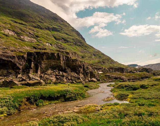 Schöner schuss eines fließenden flusses nahe hohen felsigen bergen in norwegen Kostenlose Fotos