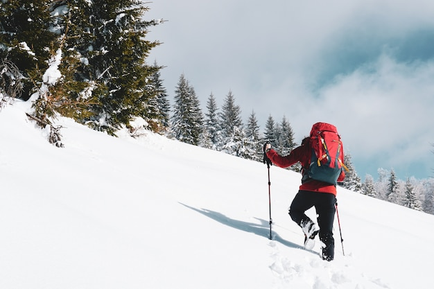 Schöner schuss eines männlichen wanderers mit einem roten reiserucksack, der auf einem schneebedeckten berg im winter wandert Kostenlose Fotos