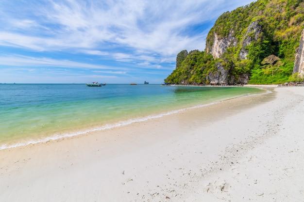 Schöner tropischer sandstrand und üppiges grünes laub auf einer tropischen insel Premium Fotos