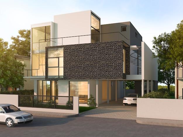 Schönes schwarzes backsteinhaus des modernen designs nahe park und natur Premium Fotos