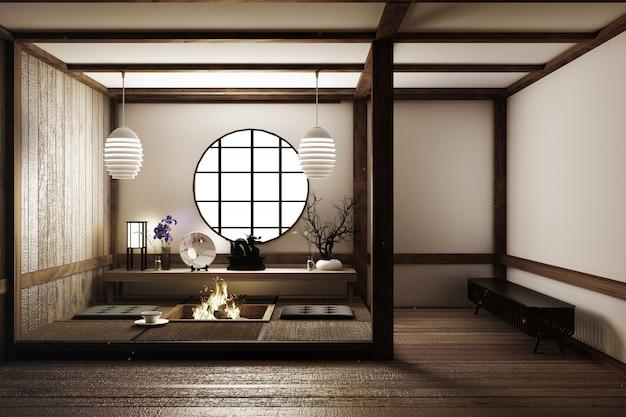 Schönstes design wohnzimmer im japanischen stil Premium Fotos