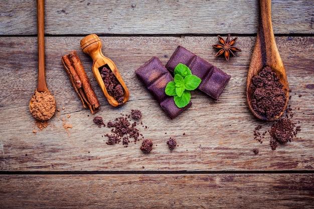 Schokoladenhintergrund und nachtischmenü. Premium Fotos