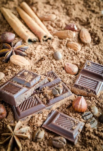 Schokoladenzusammensetzung Premium Fotos