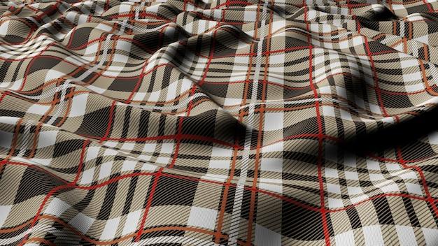 Schottisches plaid grauweiß mit rot-weiß kariertem klassischem tartan-karo nahtlosem stoff 3d gerendert. Premium Fotos