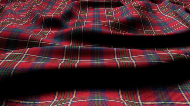 Schottisches plaid grün rot kariert klassischer tartan check nahtloser stoff 3d gerendert. Premium Fotos