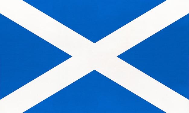 Schottland nationale stoffflagge, textilhintergrund. symbol des internationalen weltlandes des vereinigten königreichs. Premium Fotos