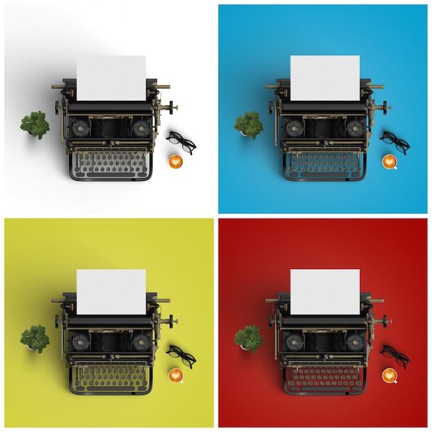 Schreibmaschinen auf vier verschiedenen hintergründen Kostenlose Fotos