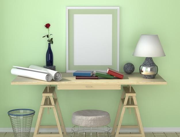 Schreibtisch aus holz mit lampe. papier und andere desktop. mülleimer und ein stuhl unter dem tisch. Premium Fotos