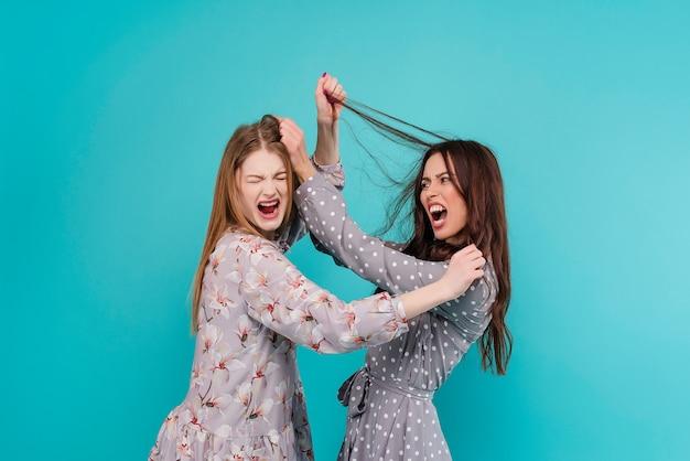 Schreiende frauen, die miteinander kämpfen und an den haaren ziehen Premium Fotos