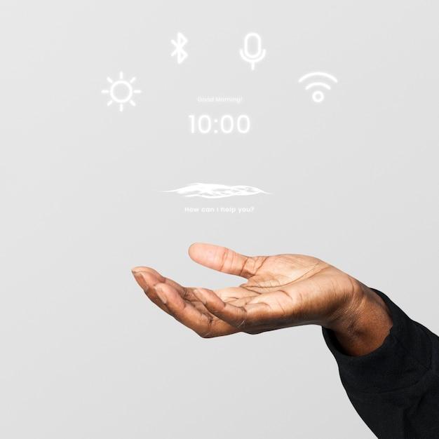Schröpfende hand, die hologramm-technologie zeigt Kostenlose Fotos