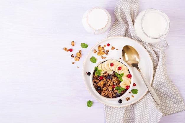 Schüssel hausgemachtes müsli mit joghurt und frischen beeren Premium Fotos