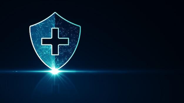 Schutzkonzept für das medizinische gesundheitssystem. futuristisches medizinisches gesundheitsschutzschildsymbol mit leuchtendem drahtgitter über vielfachem auf dunkelblauem hintergrund. Premium Fotos