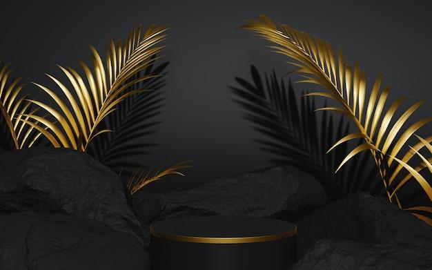 Schwarz-gold-podium mit 3d-render der fels- und palmenkomposition Premium Fotos