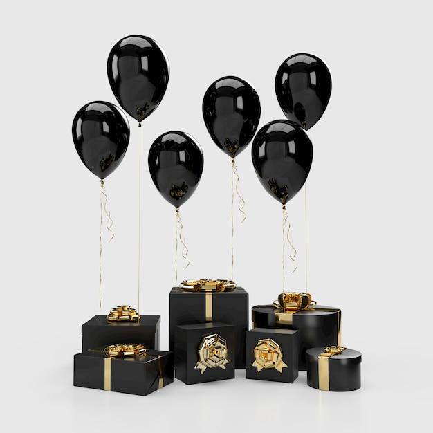 Schwarze geschenkboxen mit ballonen auf hintergrund Premium Fotos