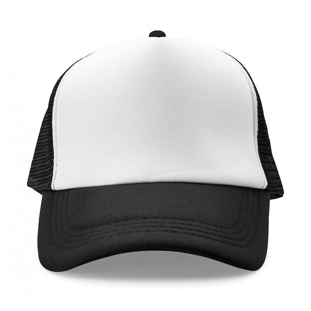 Schwarze kappe lokalisiert auf weißem hintergrund. modehut für design. Premium Fotos