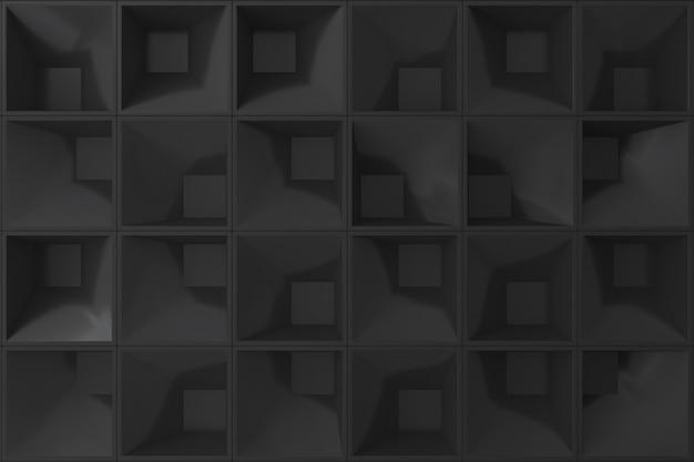 Schwarze quadratform der wand 3d für hintergrund. Premium Fotos