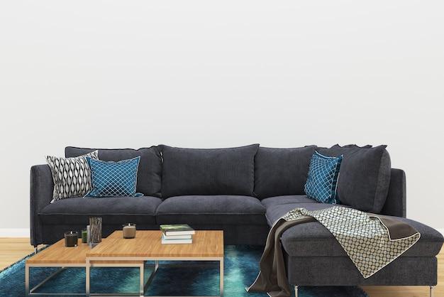 Schwarze sofa teppich blau holzboden wohnzimmer hintergrund ...