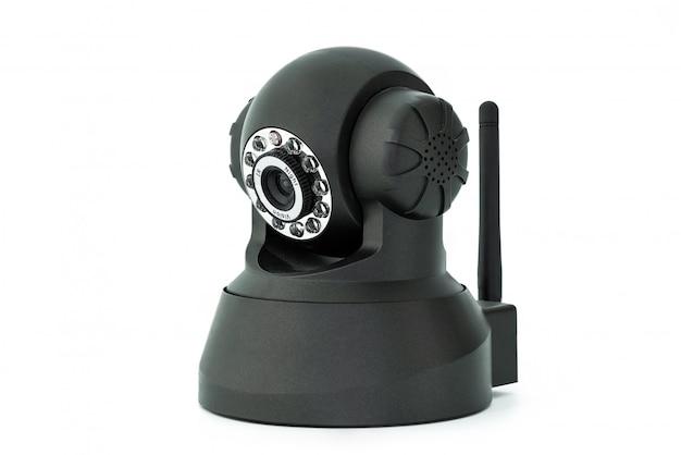 Schwarze webkamera lokalisiert auf weißem hintergrund Premium Fotos