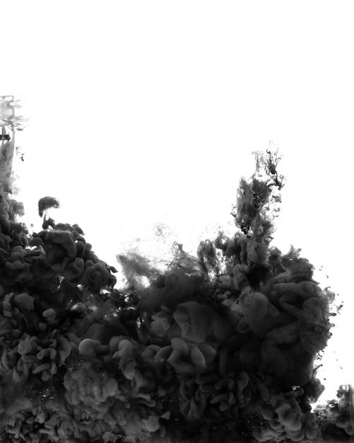 Schwarzer abstrakter raum. acrylfarbe in wasser Premium Fotos