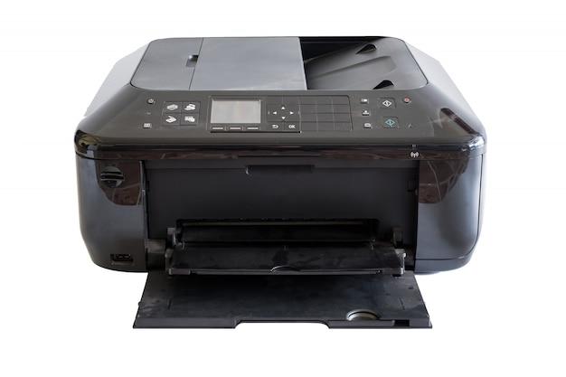 Schwarzer dokumentendruckertoner und -farben, getrennt auf hintergrund Premium Fotos